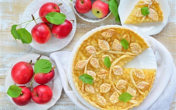Fond d'écran Tarte aux pommes délicieuse, pommes rouges