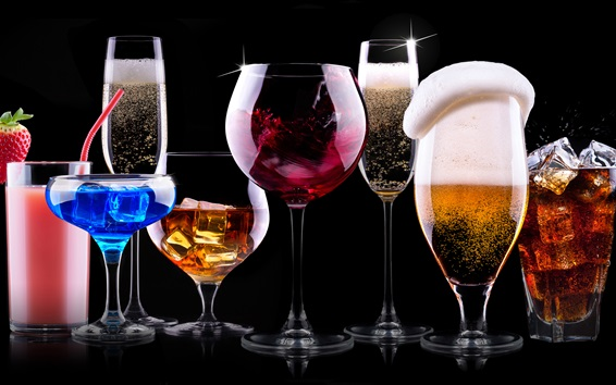 배경 화면 맛있는 칵테일, 다채로운 음료, 검정색 배경