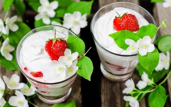 Wallpaper Delicious yogurt, dessert, strawberry, jasmine