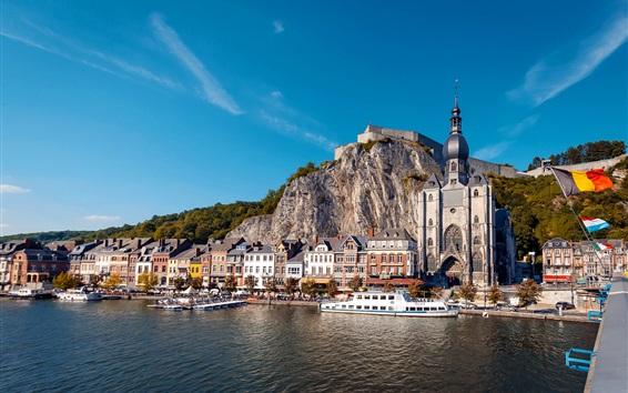 Обои Динант, Бельгия, церковь, дома, скалы, корабли, река