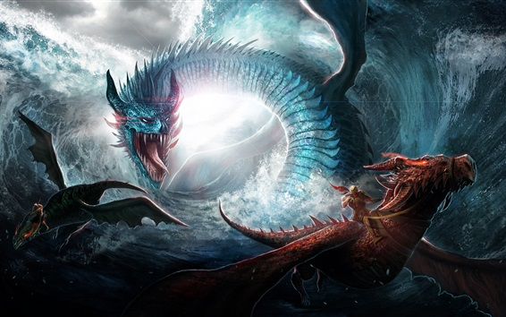 Fond d'écran Dragon, mer, vagues, photo d'art