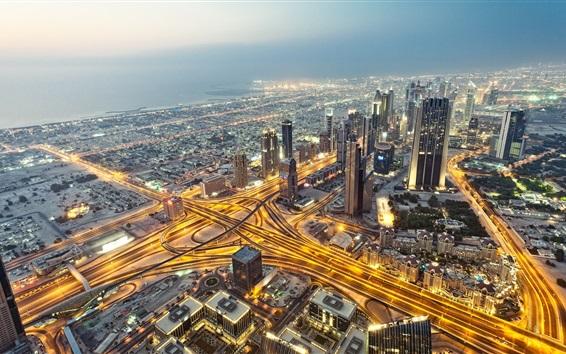 Papéis de Parede Dubai, Emirados Árabes Unidos, cidade, noite, arranha-céus, estradas, luzes
