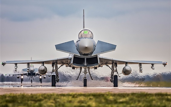 Wallpaper EF2000 aircraft front view, weapons