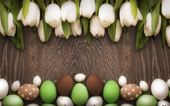 Wallpaper Easter theme, white tulips, colorful eggs, wood board