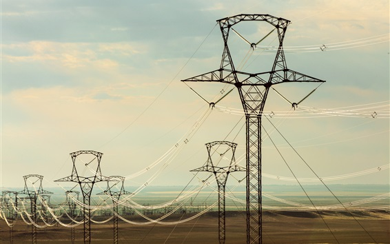 Wallpaper Electricity cables, high voltage transmission lines