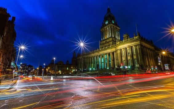 Fond d'écran Angleterre, Leeds, ville, lumières, rue, bâtiments, route, nuit