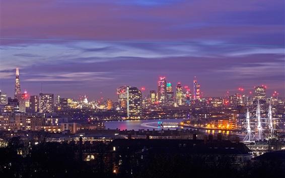 Wallpaper England, London, skyscrapers, buildings, lights, night