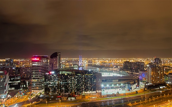 Wallpaper England, Manchester, city, buildings, lights, night, sky