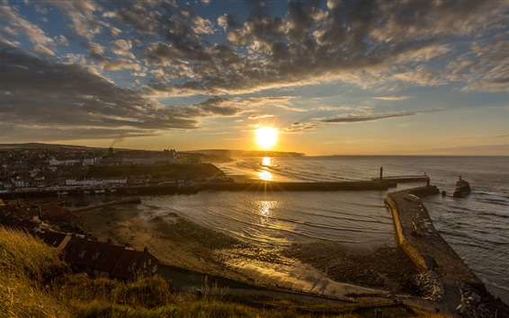 Wallpaper England, Whitby, coast, sea, city, pier, clouds, sun rays, morning