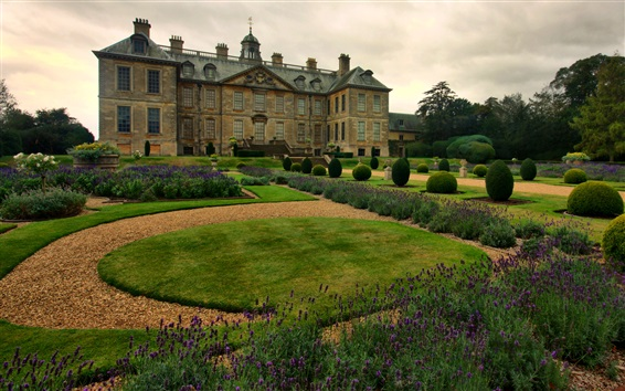 Wallpaper England, garden, palace, house, flowers
