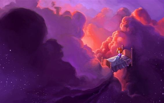 Fond d'écran Fairy tale world, lit, fille, nuages, étoiles, vol