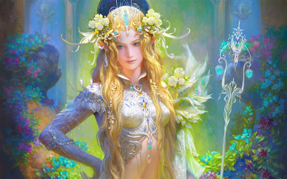 Wallpaper Fantasy girl, blonde, flowers, art picture