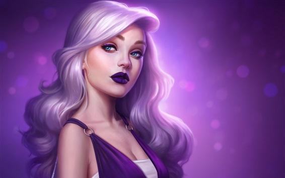 Wallpaper Fantasy girl, purple skirt, curly hair