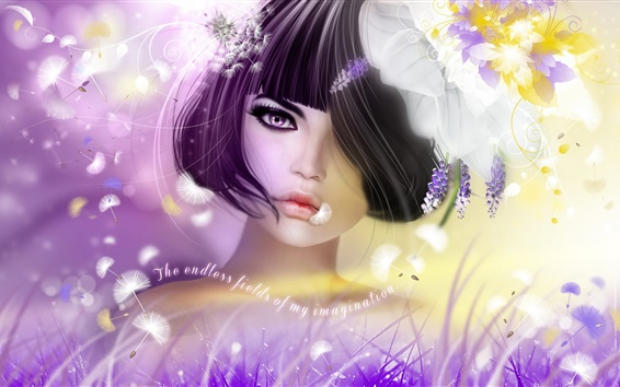 Fond d'écran Fantasy girl, cheveux courts, fleurs, créatif