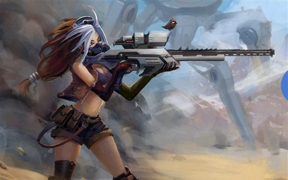 壁紙 ファンタジー少女使用銃、鳥、アート写真