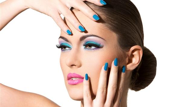 Wallpaper Fashion girl, makeup, blue colored nails