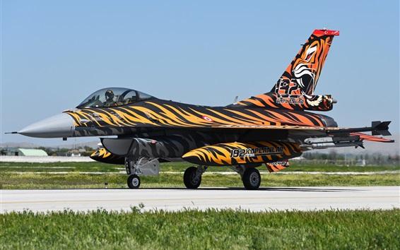 배경 화면 Fighting Falcon F-16C 전투기