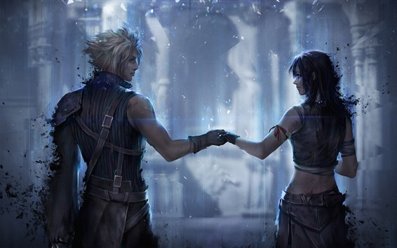 Wallpaper Final Fantasy 7, girl and boy, classic games