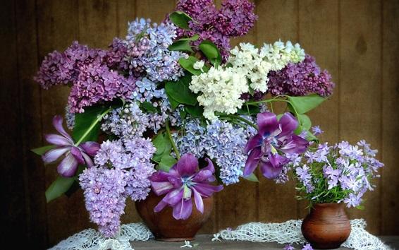 壁紙 花、ライラック、フレックス、チューリップ、花瓶
