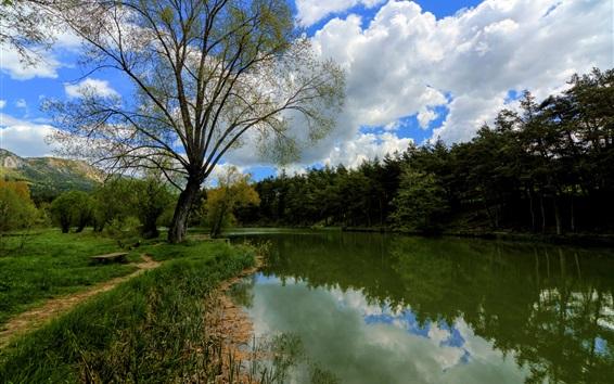 Papéis de Parede França, árvores, lago, nuvens, natureza