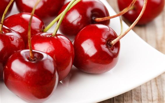 壁紙 新鮮なチェリー、赤、果物のクローズアップ