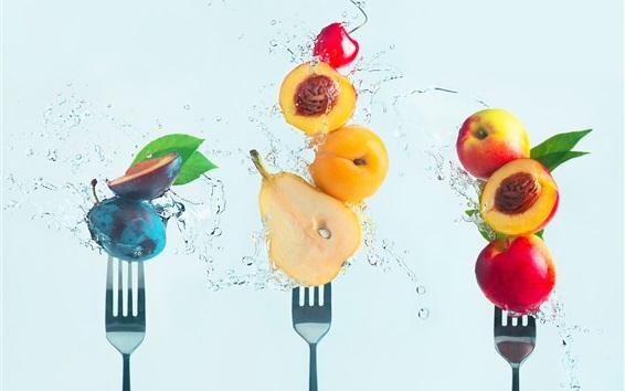 Papéis de Parede Frutas frescas, água, cereja, pera, pêssego, ameixa, garfo