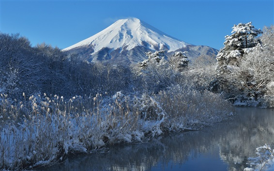 Fondos de pantalla Fuji montaña, nieve, invierno, árboles, río, Japón