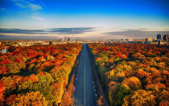 Wallpaper Germany, Berlin, TV tower, road, trees, city, autumn