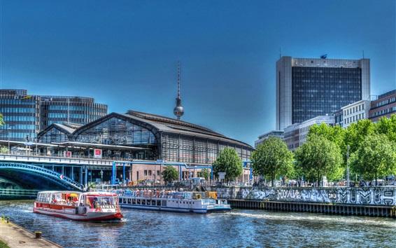 Fond d'écran Allemagne, Berlin, rivière, navire, pont, bâtiments