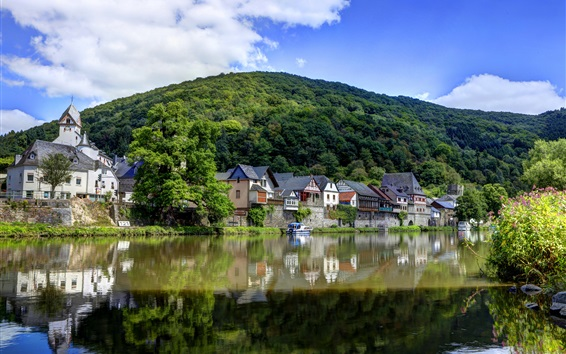 Wallpaper Germany, river, village, mountains, greens