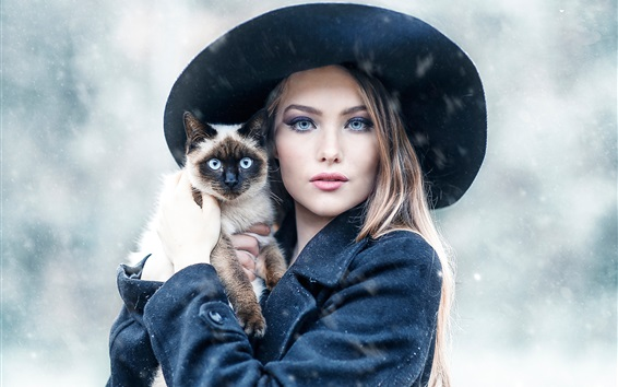 Wallpaper Girl and cat in the winter