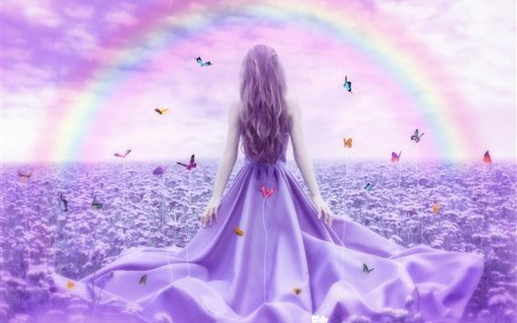 Fond d'écran Vue de dos de fille, papillon, fleurs, image créative