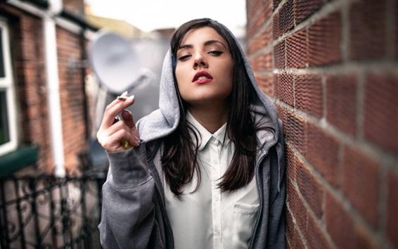 Wallpaper Girl, cigarette, smoke
