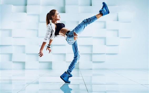 Wallpaper Girl dance, pose, legs, jeans