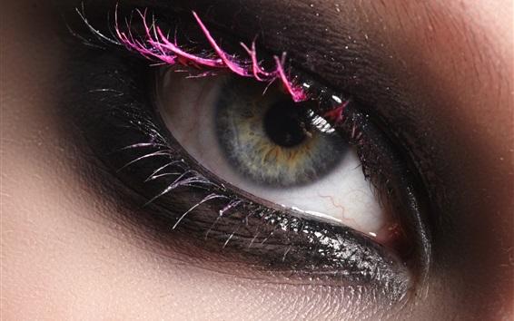 Wallpaper Girl eye macro photography, makeup