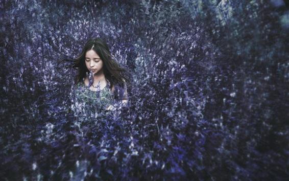 Wallpaper Girl hidden in the flowers field