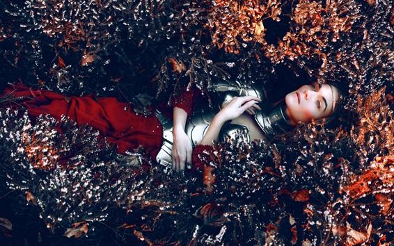 Fond d'écran Fille allongée sur le sol de fleurs, armure, Kindra Nikole