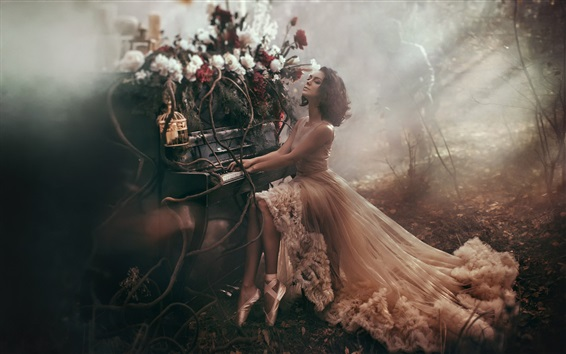 Wallpaper Girl play piano in the forest, art photography