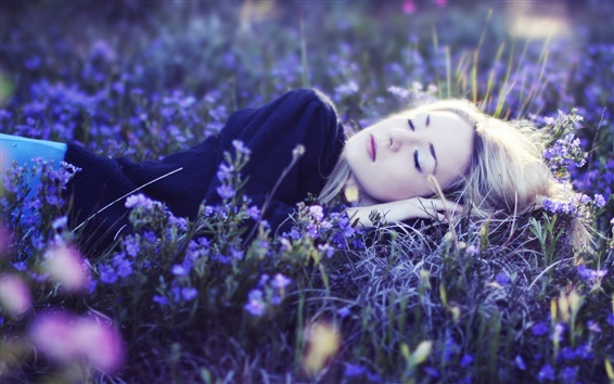 Wallpaper Girl sleep in the flowers