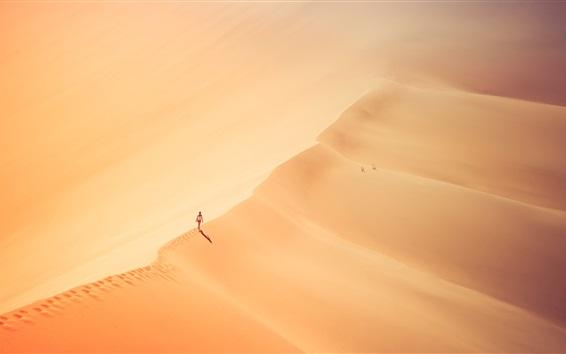 Wallpaper Girl walking in the desert