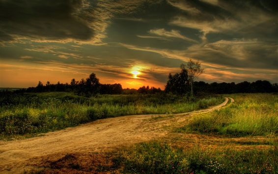 Wallpaper Grass, trees, path, clouds, sunset