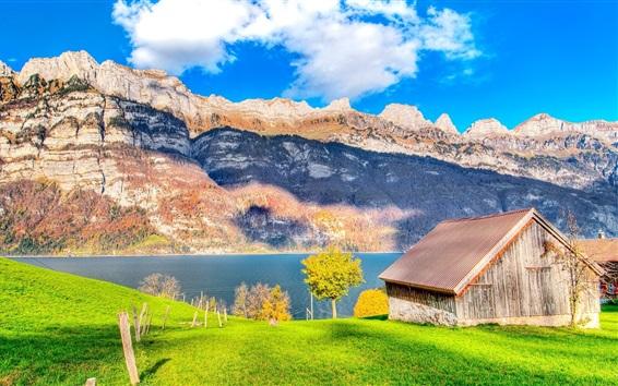 Wallpaper Grass, wood house, lake, mountains, beautiful nature
