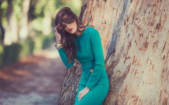 Wallpaper Green dress girl, trees