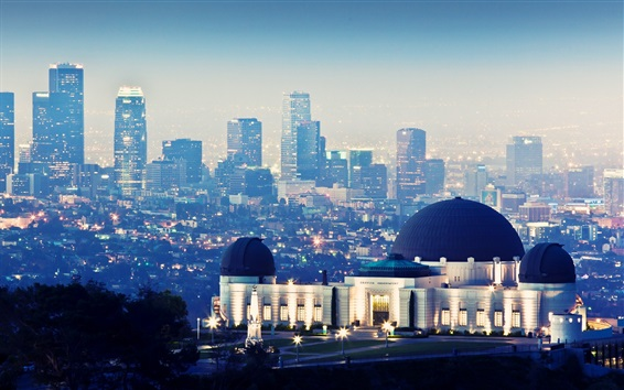 Wallpaper Griffith Observatory, skyscrapers, night, lights, Los Angeles, USA