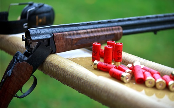 Wallpaper Gun, ammunition, rain, weapon