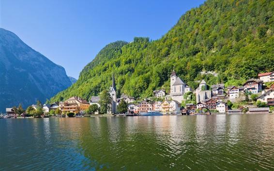 Wallpaper Hallstatt, Austria, Alps, mountains, lake, beautiful travel place