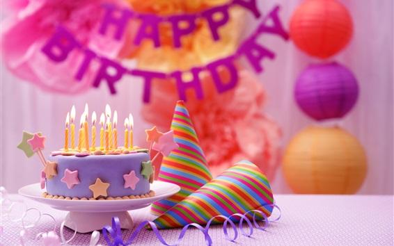 Papéis de Parede Feliz aniversário, bolo, decoração colorida, velas, chama
