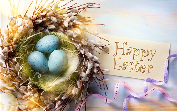 Wallpaper Happy Easter, feathers, eggs, twigs, nest