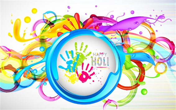 Wallpaper Happy Holi, colorful painting, Indian festival