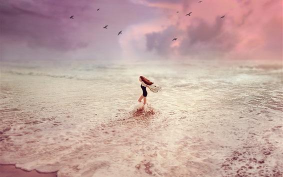 Fond d'écran Bonne fille, mer, plage, vagues, oiseaux